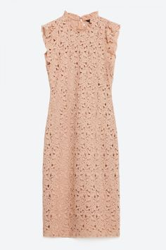 Zara Tube Dress With Guipure Lace Frill, £49.99