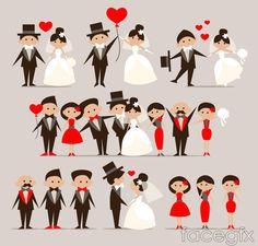 5 bride and groom cartoon vector
