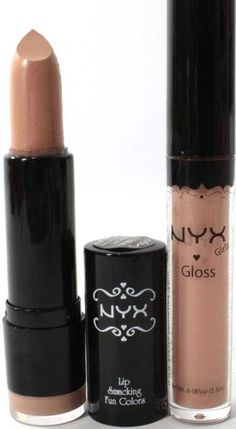 NYX Lipstick & Lipgloss Round 506 UBERCHIC & CAFE LATTE Light nude lip pack at ALLTHINGSLADYLIKE.COM.AU