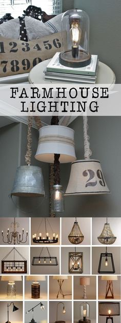 farmhouse home accents Lighting is such an important part of any space. Today I am sharing some amazing farmhouse lighting options. From lamps, to chandeliers, accent lighting, outdoors. Farmhouse Lamps, Farmhouse Lighting, Rustic Lighting, Farmhouse Style Decorating, Farmhouse Chic, Farmhouse Design, Home Lighting, Accent Lighting, Lighting Ideas