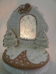 Christmas Cakes, Christmas Sweets, Stained Glass Cookies, Biscotti, Snow Globes, Gingerbread, Icing, Crafts, Food