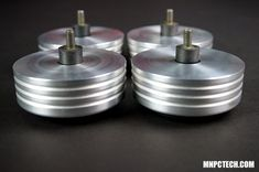 LARGE TECHNICS SL-1200MK DJ Turntable RISER ANTI-SKID Silver Aluminum Pedestal Feet (Set of 4) - Mnpctech