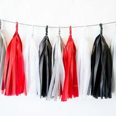 KNOCKOUT | Black, Silver, Red, White Paper Tassel Garland - Monochrome - Banner - Birthday - Wedding - Bachelorette- Party Decor - Superhero
