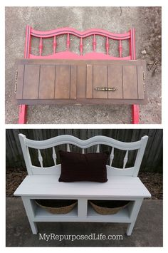 twin headboard and a kitchen cabinet make a great entryway bench with storage
