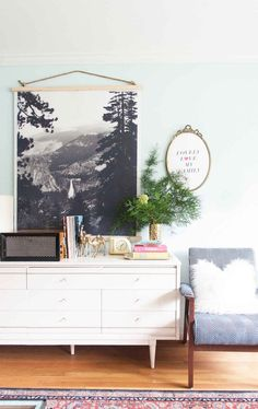 DIY black and white poster wall hanging from Lay Baby Lay.