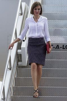 Queen Letizia in a pencil skirt and white blouse