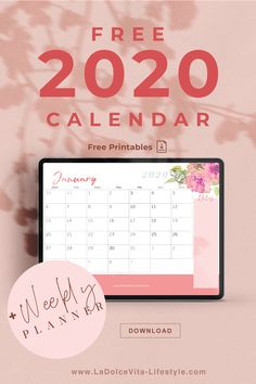Free printables: 2020 Calendar + weekly planner! Social Media Calendar Template, Weekly Planner, Free Printables, Bullet Journal, Messages, Templates, How To Plan, Lifestyle, Blogging