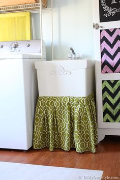 Hidden Storage Idea: Table Or Sink Skirt