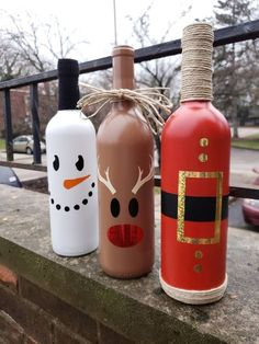 Christmas Wine Bottle Trio Bottle crafts, Karen Kivisto, Bottle crafts Add this Christmas Wine Bottle Trio to your holiday decor and . Glass Bottle Crafts, Wine Bottle Art, Painted Wine Bottles, Empty Bottles, Snowman Christmas Decorations, Christmas Centerpieces, Christmas Crafts, Christmas Christmas, Christmas Wine Bottles