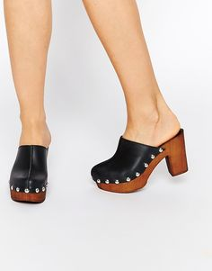 fa554d91c6 ASOS OHIO Leather Clog Heels Shoes Sneakers