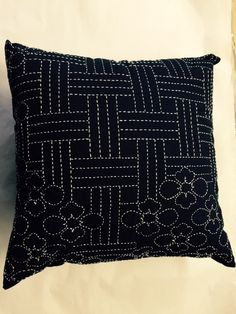 One World Fabrics: Shop | Category: Sashiko Supplies and Patterns | Product: Lotus Blossom Sashiko Pillow Kit