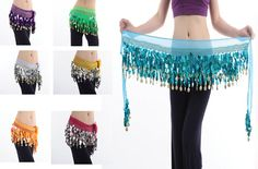 jasmine?  would have to be sewn down for noise.  looks good.  Multi Color Gold Coin Belly Dance Hip Scarf Belt Skirt Costume Belly Dancewears | eBay