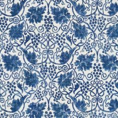 Grapevine Fabric A vine and its grapes design in indigo. This new design is reminiscent of the type of illustrations used in the borders of Morris' printed manuscripts.