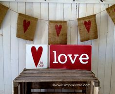 Super cute and easy Valentine love blocks!!  ♥ is for love!  {simplykierste.com}
