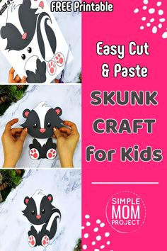 Are you looking for fun ways for your kids to learn the letter S - here's a cute Forest Animal Crafts, Zoo Crafts, Animal Crafts For Kids, Animal Projects, Skunk Craft, Raccoon Craft, Easy Preschool Crafts, Easy Crafts For Kids, Crafts To Make