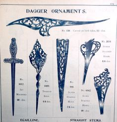 Early 20th century trade cayalog with single prong daggler type hair accessories