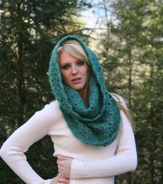 Ultramarine Green  Textured Chunky Cowl Scarf by crochetgallery, winter fashion, crochet, handmade