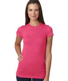LA T Juniors' Fine Jersey Vintage Longer Length T-Shirt 3605 Vintage Hot Pink