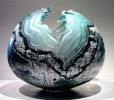 Paschal Lemoine | Technique: Blown glass, enamel, cracked and / or engobed, engraved, torn by sandblasting.