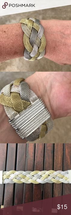 GOLDD AND SILVER MESH BRACELET FROM PRAGUE I just love the simplicity of this braided gold dark silver and light silver bracelet. But at a small boutique in Prague it has a magnetic closure in excellent condition start thinking holiday gifts or a gift for yourself! Jewelry Bracelets