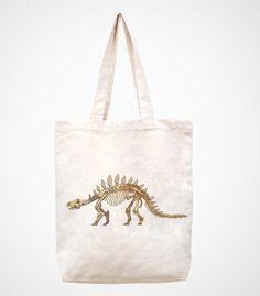 Dinosaur skeletons handmade bag/canvas bag/tote by canvasanni, $11.90