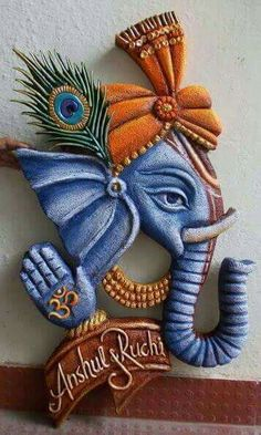 Mural Art by Datta Vaidya Clay Wall Art, Mural Wall Art, Mural Painting, Murals, Craft Stick Crafts, Clay Crafts, Arte Ganesha, Thermocol Craft, Hobbies And Crafts