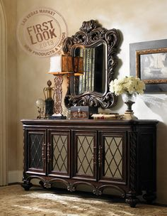 See it first at Florentino from Lexington Home Brands offers Old World elegance by way of ornate carvings, mirrored fronts and a luxurious finish. Elegant Home Decor, Elegant Homes, Business Furniture, Home Furniture, World Decor, Lexington Home, Tuscan House, Mediterranean Home Decor, Tuscan Decorating