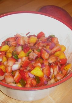 Skinny Mom's, Strawberry and Mango Salsa will be the perfect snack to bring to the office! Its refreshing and you can make the night before to be able to pack something easy!