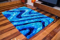 Ocean current Thick stain resistant Non- Shed shaggy rug 5' x 7'