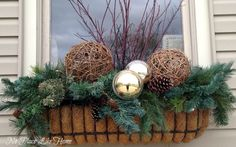 B's discussion on Hometalk. Winter Containers - Christmas/winter window box and urn ideaWanda B's discussion on Hometalk. Winter Containers - Christmas/winter window box and urn idea Winter Window Boxes, Christmas Window Boxes, Christmas Planters, Christmas Porch, Outdoor Christmas, Christmas Decorations, Holiday Decor, Xmas, Christmas Tables