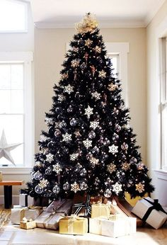 Style, substance, and sophistication — the Tuxedo Black Christmas Tree has it all. Some day black Christmas Tree . you will be mine, TOO! Black Christmas Tree Decorations, Christmas Tree Sale, Elegant Christmas Decor, Black Christmas Trees, Creative Christmas Trees, Noel Christmas, Christmas Themes, Snowflake Decorations, Christmas 2019