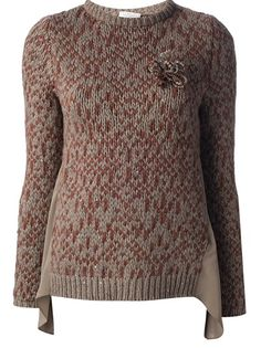 BRUNELLO CUCINELLI - chunky knit crew neck sweater 6 . an all-over maroon pattern flower detail with bead detailing long pleated silk inserts cashmere brown with maroon . http://www.farfetch.com/shopping/women/brunello-cucinelli-chunky-knit-crew-neck-sweater-item-10527062.aspx
