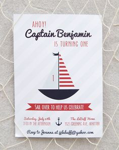 Nautical Birthday Invitation Printable by paigesofstyle on Etsy, $15.00