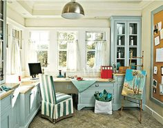 I would never leave this room! I'm serious. THIS is my ultimate craft room!! Love the space right under the windows!!!!