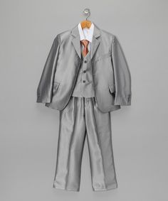 Light Gray Suit Set - Infant, Toddler & Boys by American Exchange on So cute. Light Grey Suits, Gray Suits, Boys Prom Suits, Boys Clothes Style, Little Gentleman, Toddler Boys, Infant Toddler, Blazer Buttons, Little Man