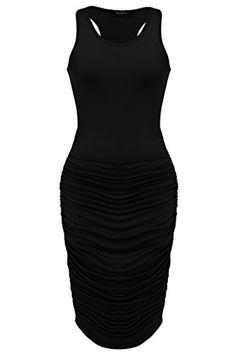 Zeagoo Women's Summer Sexy Stretch Ruched Sundress Fold Bodycon Midi Tank Dress - http://darrenblogs.com/2016/04/zeagoo-womens-summer-sexy-stretch-ruched-sundress-fold-bodycon-midi-tank-dress/