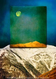 Textured work of full moon over the Alps with surreal feel - ©Silvia Ganora Photography - All Rights Reserved  #bookcovers #surreal #moon #mountains