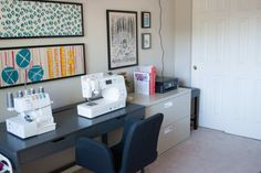 Great desk from ikea that hides cords and pedals. Put the most commonly used supplies in drawers beneath machine