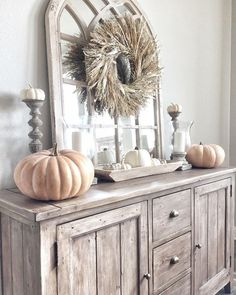 Fall Thanksgiving Decor - neutral autumn fall decor, thanksgiving vignette, white and wood, dining room decor
