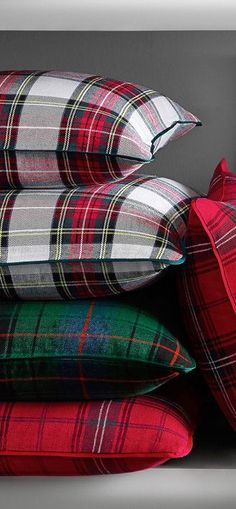 Classic Red Tartan Pillows