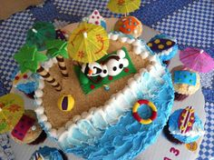Frozen Olaf in summer cake - Beach waves parasols