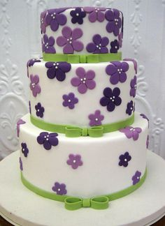 Purple Blossoms and Ribbon Cake - Wedding Cake Style