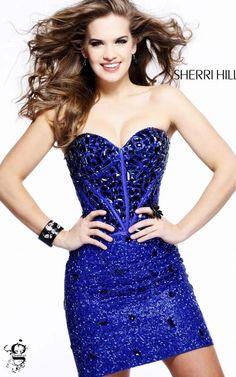 Sherri Hill 1429 Royal Beaded Strapless Prom DressOutlet