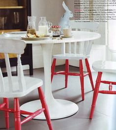 No need to paint the entire chair the same colour. Be bold and paint the legs a different colour.