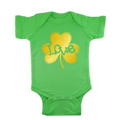 Gold Love Inside Shamrock personalized baby  green bodysuit or Infant T-Shirt by bodysuitsbynany on Etsy