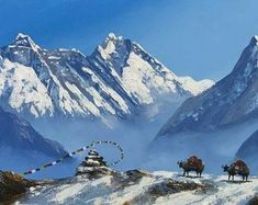 Painting Of Girl, Painting Tools, World Famous Painters, Mount Everest Base Camp, Mountain Paintings, Bergen, Asian Art, Nepal, Original Paintings