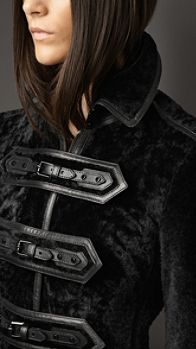 Leather Detail Shearling Duffle Jacket | Burberry