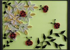 Paper Quilled Art  OOAK  Quilling247  Lady Bugs by Quilling247, $45.00