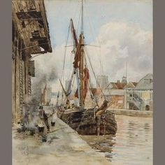 "Herbert Menzies Marshall, R.E., R.O.I., R.W.S. (1841-1913) ""The Port of Ipswich"" Signed and dated 1885, also signed and inscribed on original label on reverse, watercolour,  28 x 56cm (11 x 22in). Sold for £1,680 (RUB 87,152)"