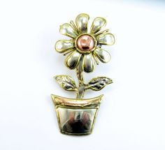 Vintage Brooch Pendant Daisy Flower Pot Bold Tri Color